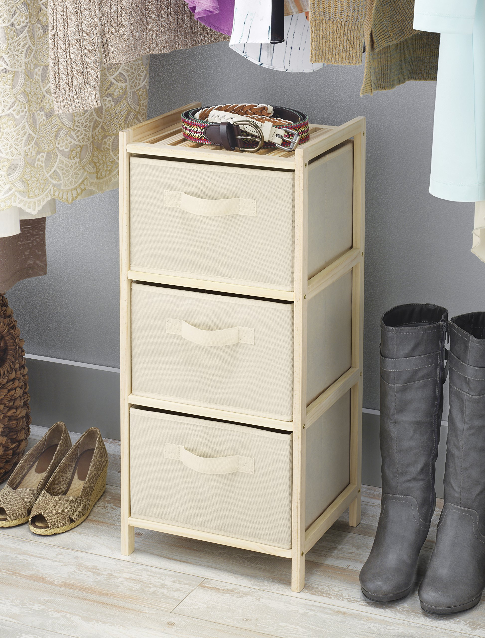 Whitmor 3 Drawer Wood Chest - Compact Design - Pull Out Fabric Bins - Natural Pine by Whitmor (Image #2)