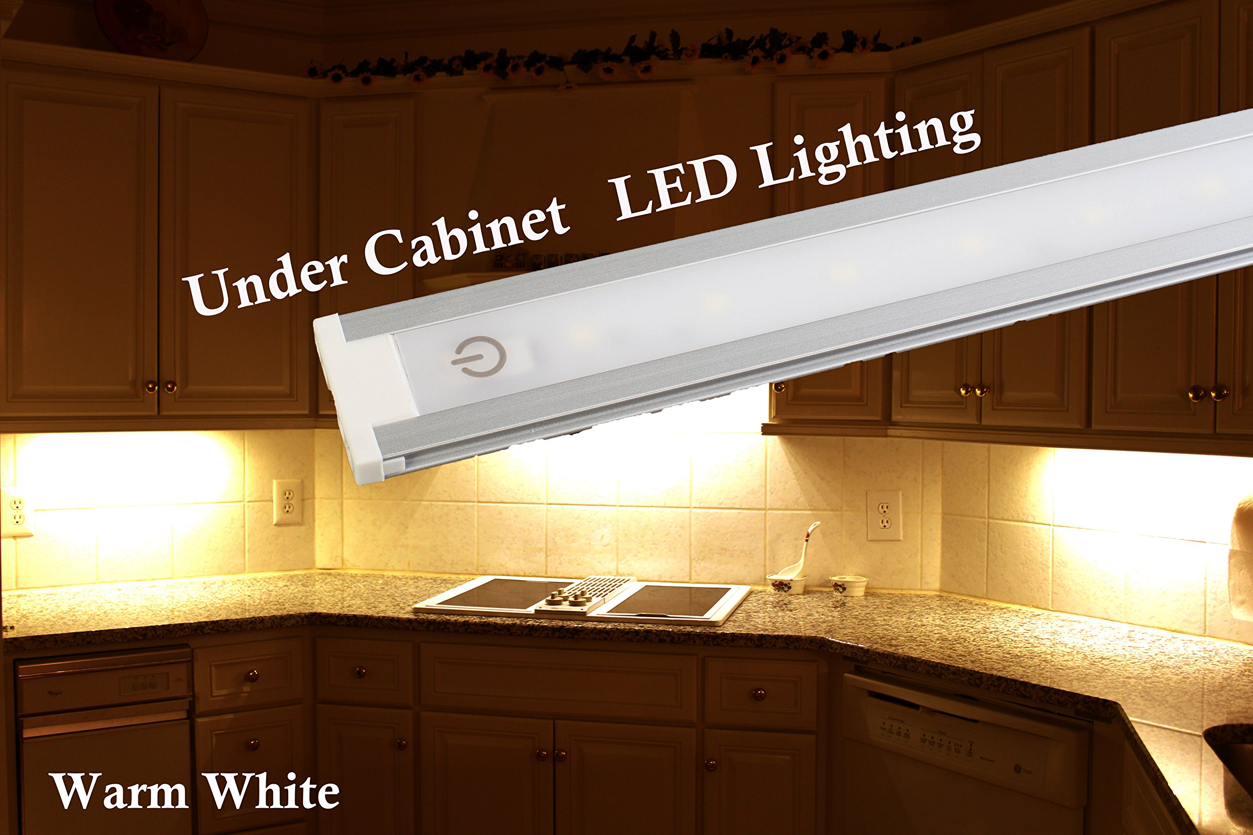 LEDupdates Under Cabinet Counter LED Light 24 inches with Touch on Off dim Switch for Work Shop, Pantry & Closet with UL Power Adapter Warm White by LEDUPDATES