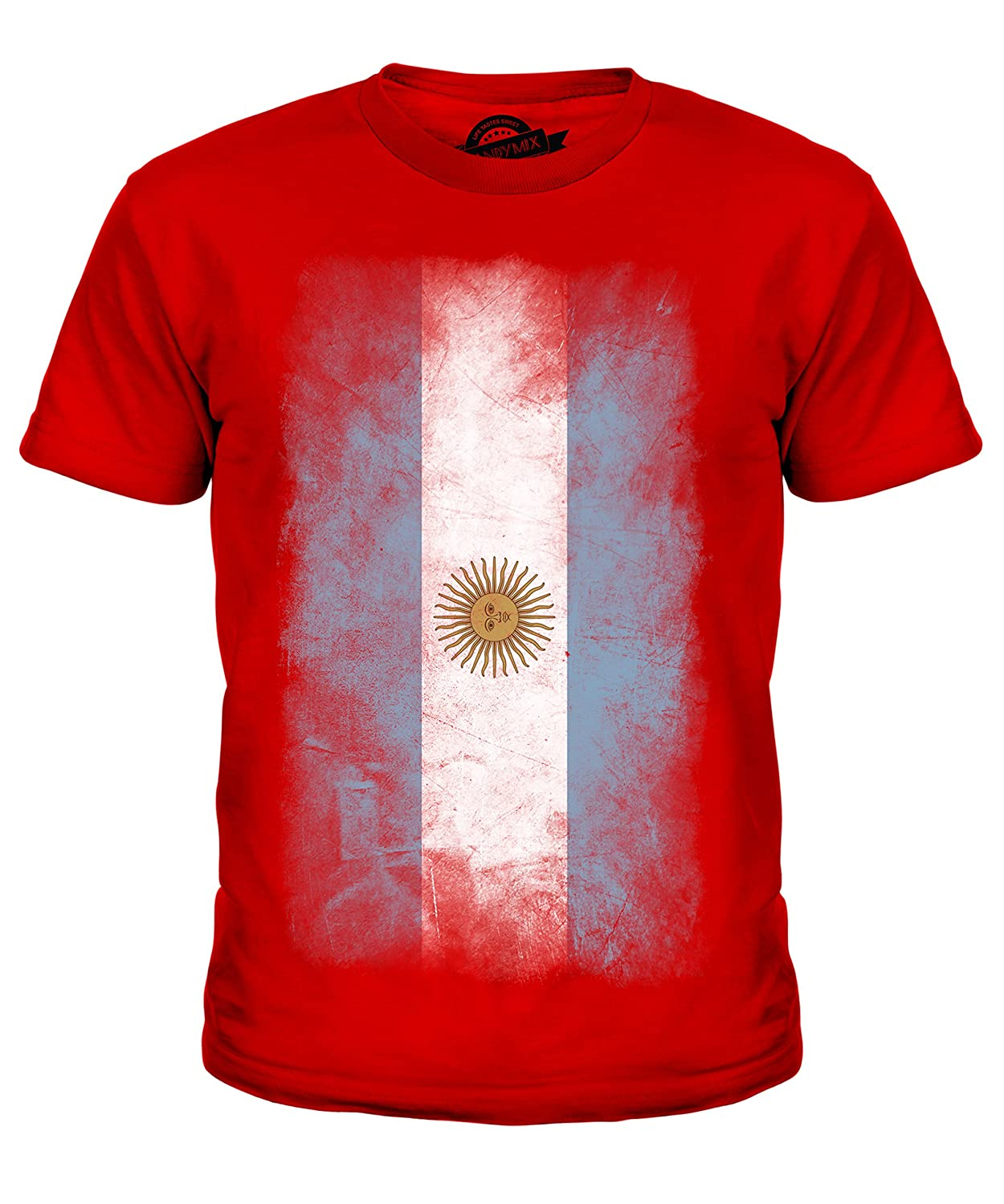 30b389c1f8fad Candymix Argentina Faded Flag Unisex Kids T Shirt  Boys/Girls/Toddler/Children T-Shirt: Amazon.co.uk: Clothing