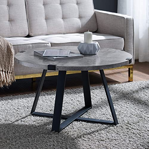 HOMCOM Industrial Coffee Table Side End Desk with 1 Drawer, 1 Open Storage Shelves, and a Modern Farmhouse Style, White