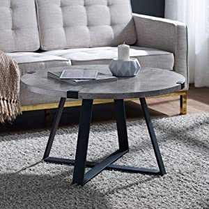 "WE Furniture AZF30MWCTDC Industrial Round Metal Wrap Coffee Table, 30"", Dark Faux Concrete Top X Base"