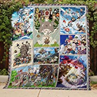 Studio Ghibli Quilt TH339b All-Season Quilts Comforters with Reversible Cotton King/Queen/Twin Size - Best Decorative Quilts-Unique Quilted for Gifts