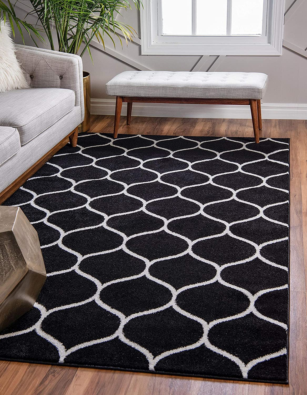 Unique Loom Trellis Frieze Collection Lattice Moroccan Geometric Modern Black Area Rug (5' 0 x 8' 0)