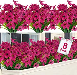 TURNMEON Artificial Flowers Outdoor UV Resistant Plastic Plant Silk Flower, Faux Fake Flower Greenery Shrub Plant Indoor Outdoor Hanging Planter Home Garden Porch Window Box Decor (Fushia, 8)