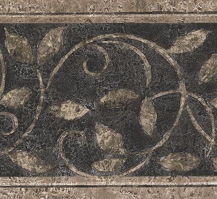 . Norwall Abstract Damask Beige Vines Black Vintage Wallpaper Border Retro  Design  Roll 15  x 7