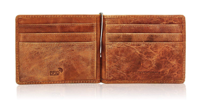 3e8421cadfb5d Schwarz Stein RFID Herren Karten-Etui mit Geldklammer - aus echtem Büffel- Leder - stilvolle   sichere Geldbörse Dank Diebstahlschutz (Braun)   Amazon.de  ...