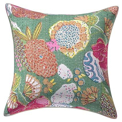Khanta Handmade Cushion Cover Size 16X16 Inches Pillow Khanta Cushion Cover,Home Decorative Handmade Kantha