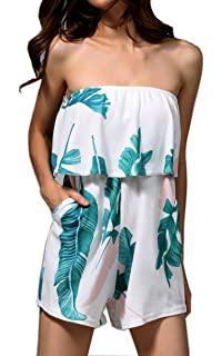 0e89cc2277 Hibluco Women s Off Shoulder Rompers Sleeveless Short Jumpsuits with Pockets