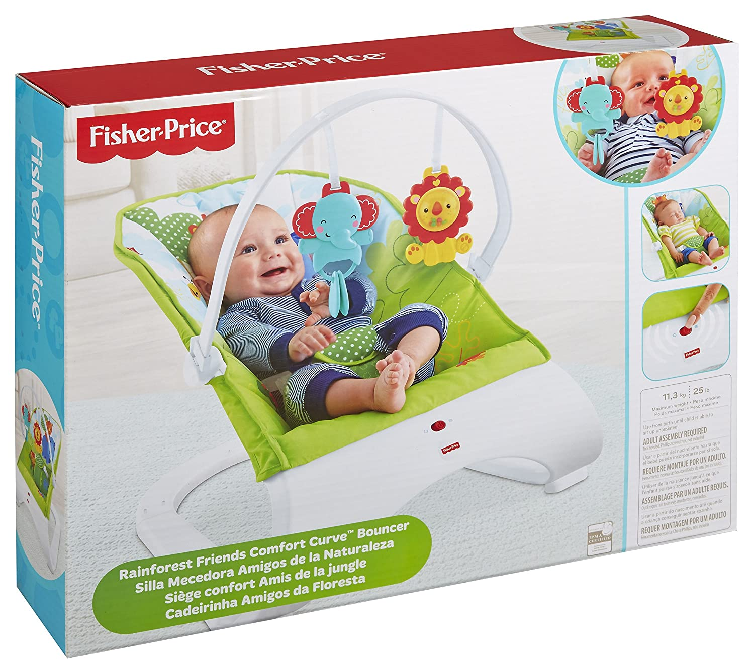 Fisher-Price Rainforest Friends Comfort Curve Bouncer by Fisher-Price: Amazon.es: Bebé