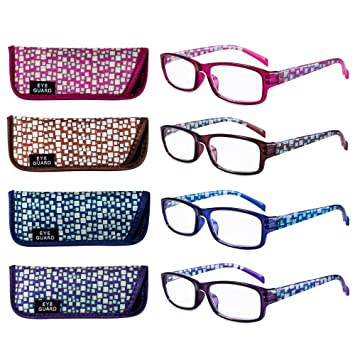 9903253d10d EYEGUARD Reading Glasses 4 Pair Quality Spring Hinge Stylish Readers Fashion  Women Glasses for Readers