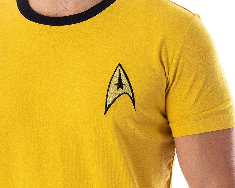 Star Trek Commande Uniforme jaune James T Kirk Costume hommes Starship T-shirt