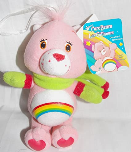 Amazon Com 2005 Care Bears 5 Stuffed Plush Cheer Bear Christmas Ornament With Green Scarf And Mittens Toys Games