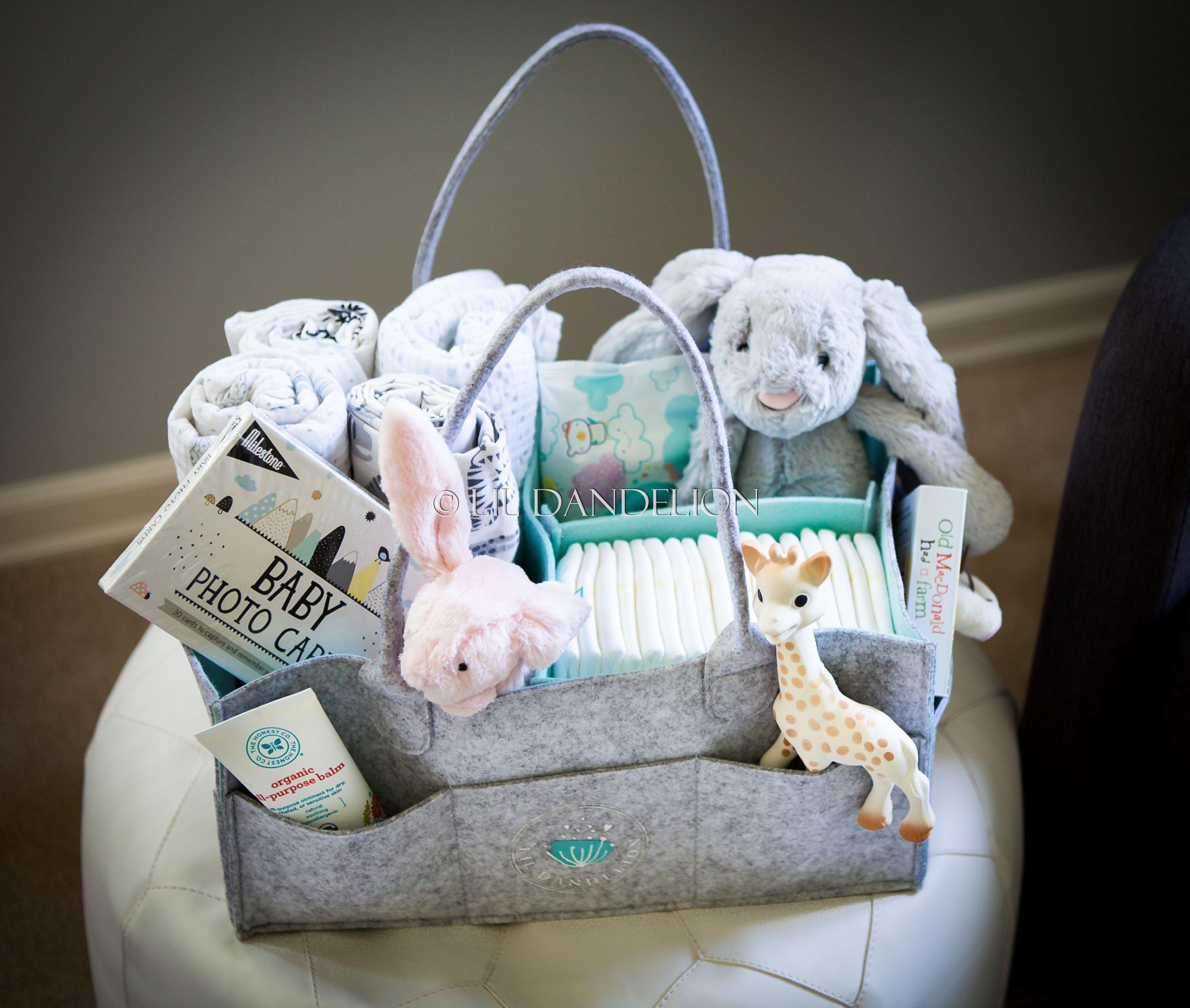 Baby Diaper Caddy Organizer - Baby Shower Gift Basket for Boys Girls ...