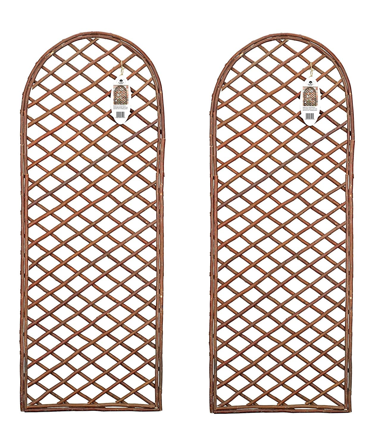 Pack of 2 x Willow Trellis Panel Round Top - Curved Garden Wall Trellis Ruddings Wood