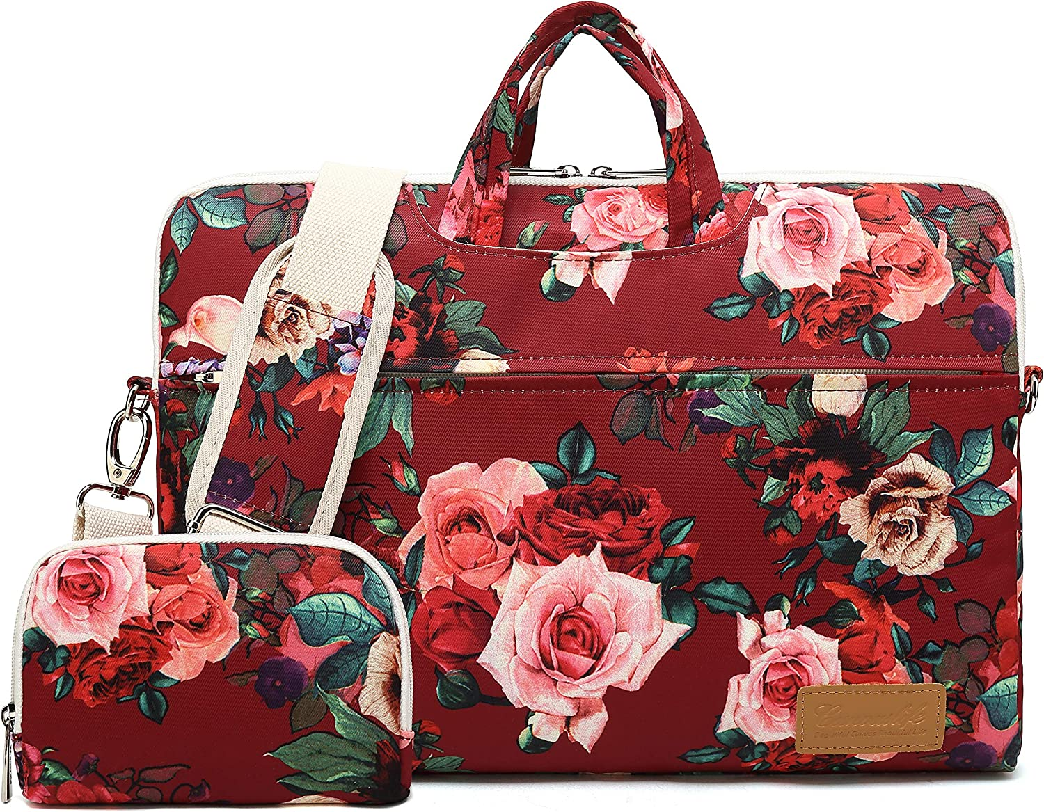 Canvaslife Burgundy red Roses Pattern 15 inch Waterproof Laptop Shoulder Messenger Bag for 14 Inch to15.6 inch Laptop and MacBook Pro 15 Laptop Case