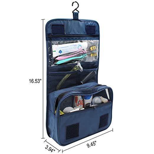 9a60b9226349 FUNFEL Hanging Toiletry Bag, Travel Organizer for Men and Women (Navy Blue)