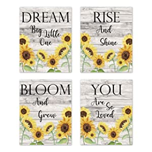 Sweet Jojo Designs Yellow Sunflower Boho Floral Wall Art Prints Room Decor for Baby, Nursery, and Kids - Set of 4 - Farmhouse Wood Grain Rustic Watercolor Flower Vintage Southern Country