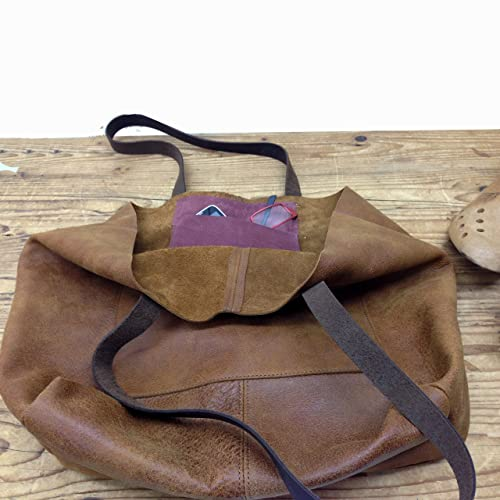 dc715d0a7 Image Unavailable. Image not available for. Color: Soft Leather Hobo Tote  bag Slouchy Handmade Women's Shoulder Purse Brown