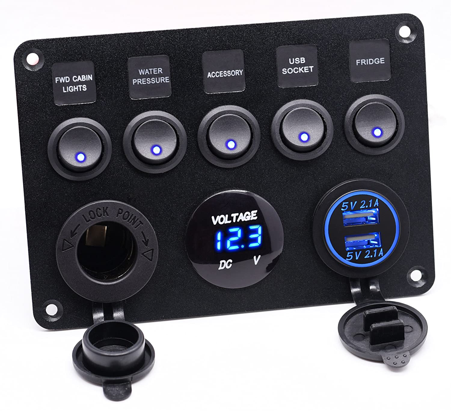 Cllena Dual Usb Socket Charger 21a21a Led Voltmeter 4 Gang Meter Base Wiring Diagram 12v Power Outlet 5 On Off Toggle Switch Multi Functions Panel For Car Boat