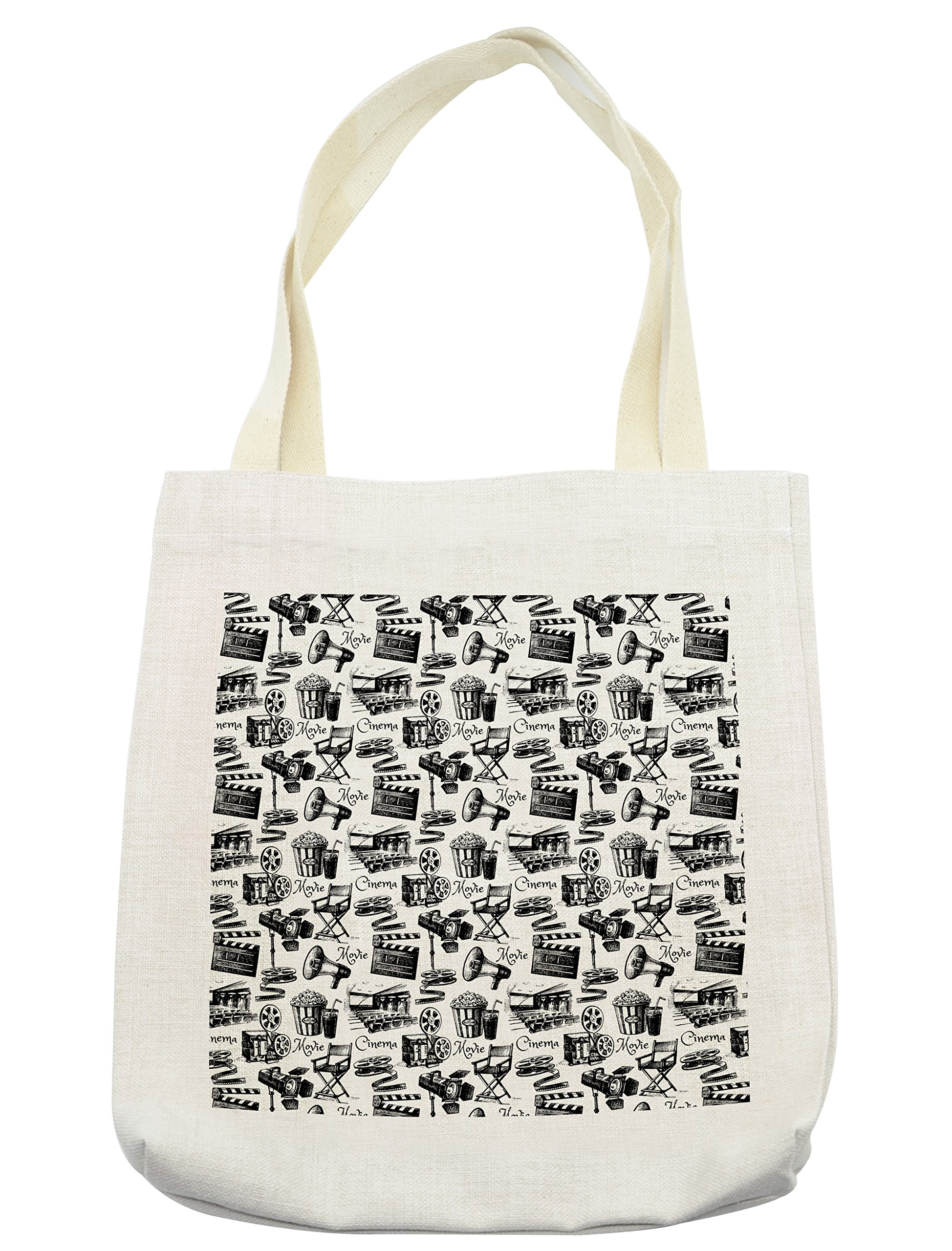 Lunarable Movie Tote Bag, Vintage Artful Film Cinema Icons Motion Camera Action Record Graphic Style Print, Cloth Linen Reusable Bag for Shopping Groceries Books Beach Travel & More, Cream