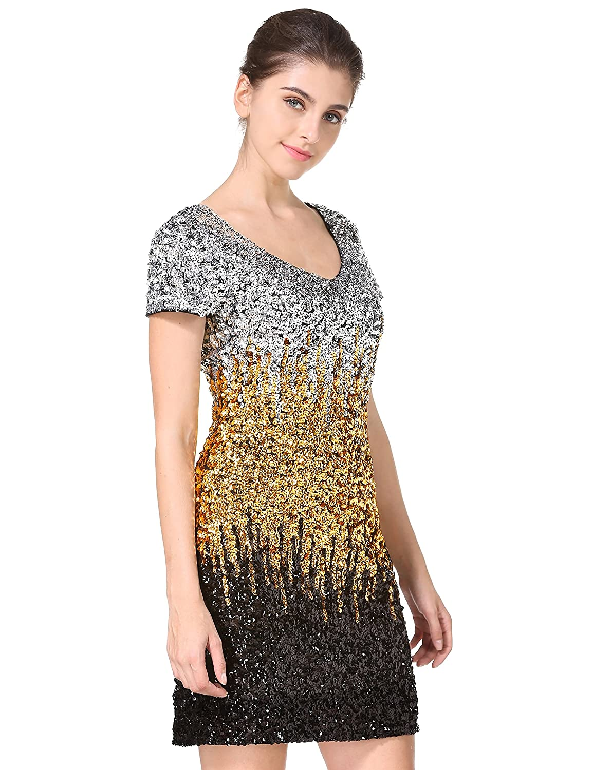MANER Women's Sequin Glitter Short Sleeve Dress Sexy V Neck Mini Party Club Bodycon Gowns