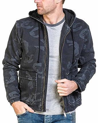 Jeans Noire Veste Camouflage Jogg Denim Republic Zippée Homme q15StSx