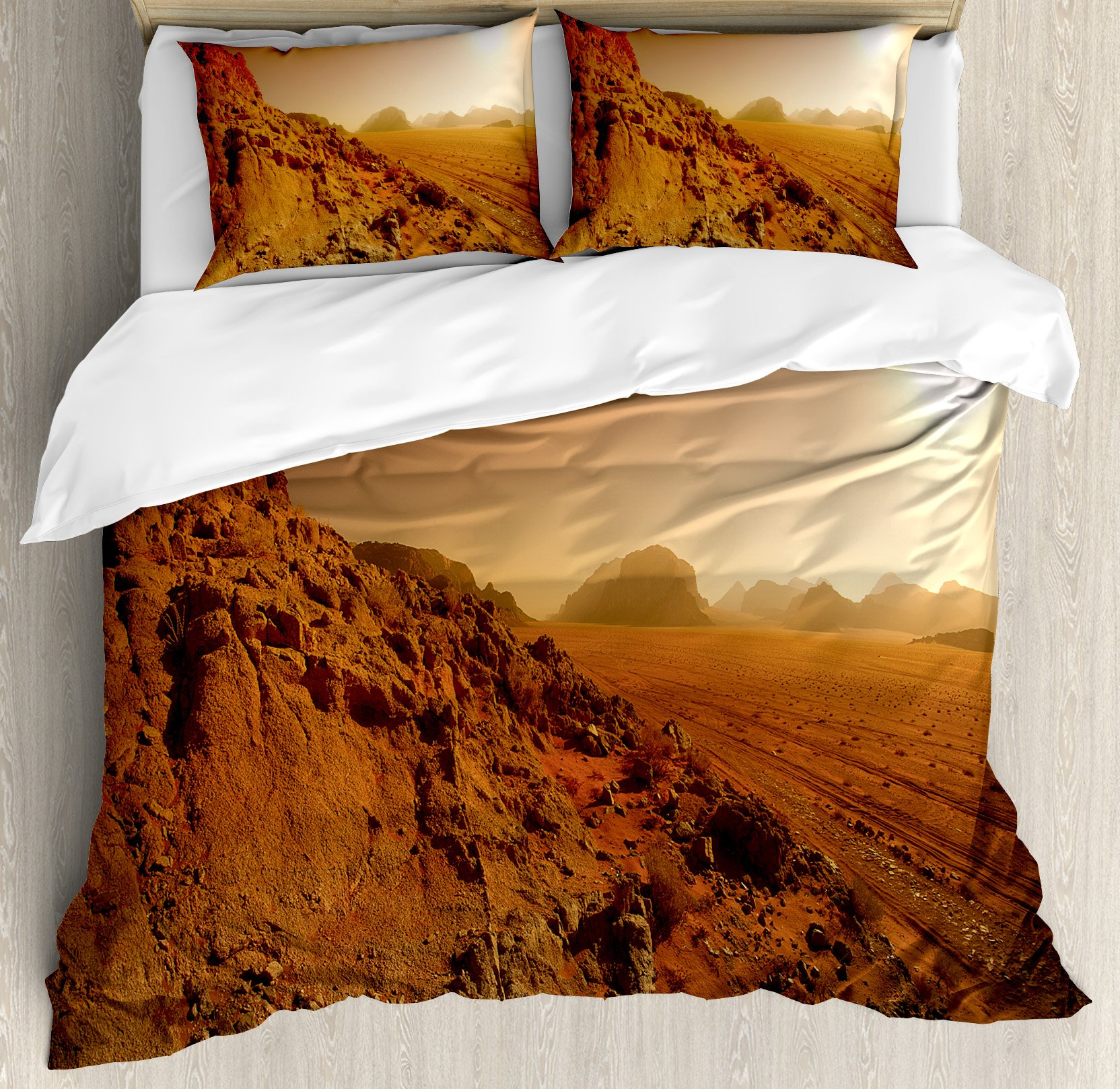 Galaxy Duvet Cover Set by Ambesonne, Landscape from the Movie Fantastic Fictional Galaxy War Pattern Sunset Mountains, 3 Piece Bedding Set with Pillow Shams, Queen / Full, Brown Yellow