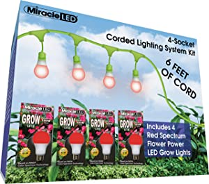 Miracle LED 602842 12ft Corded System Kit with 4 Red Spectrum Grow Lights