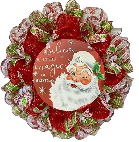 believe in the magic of christmas santa claus deco mesh handmade wreath - Christmas Mesh