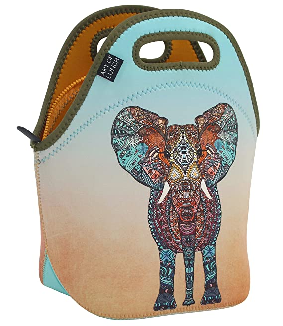 ART OF LUNCH Neoprene Lunch Bag - Artist Monika Strigel (Germany) and Art of Liv'n have Partnered to donate $.40 of every sale to the David Sheldrick Wildlife Trust - Elephant