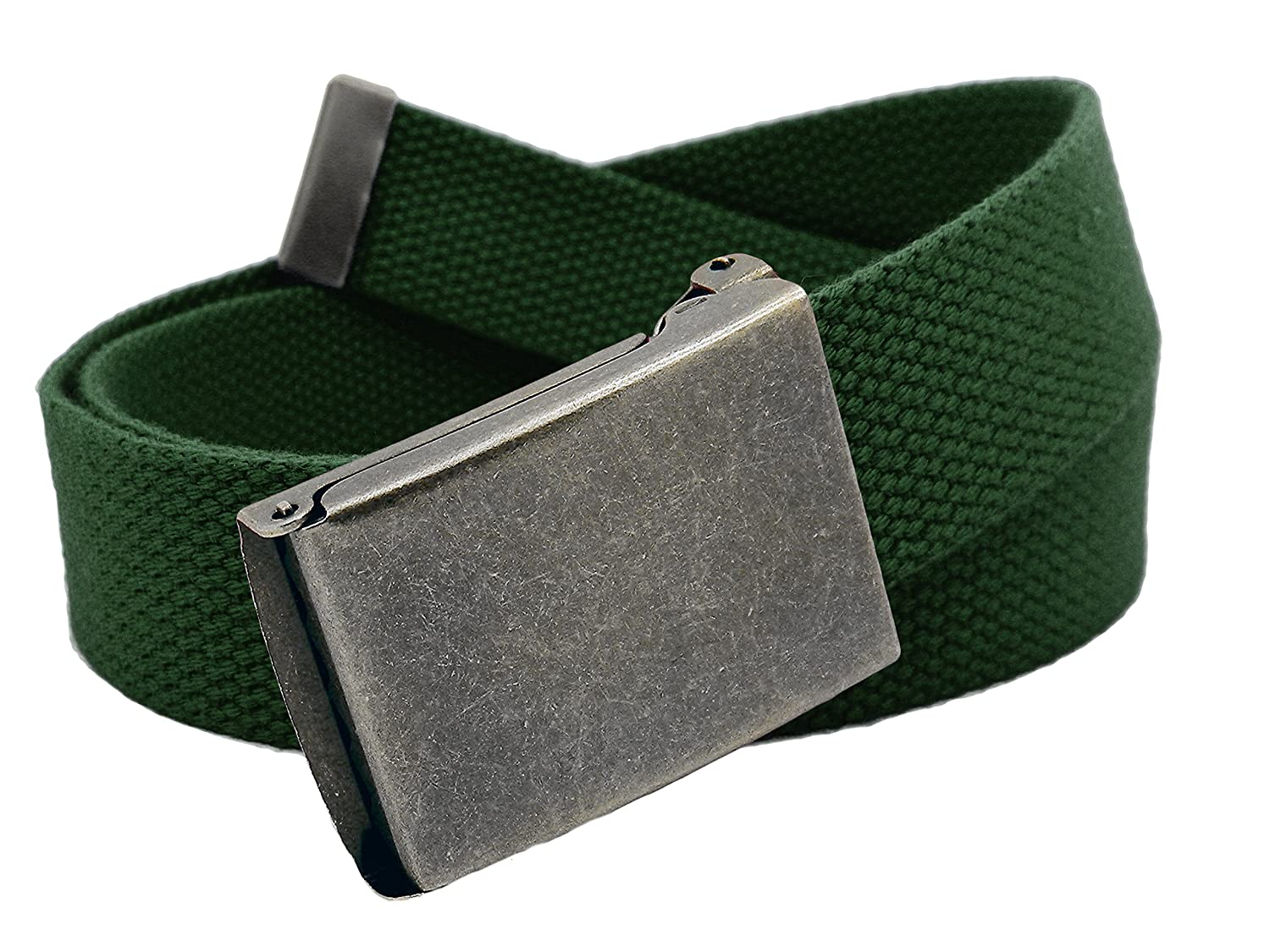 Women's Distressed Silver Flip Top Military Belt Buckle with Canvas Web Belt 6909W-AS-$P