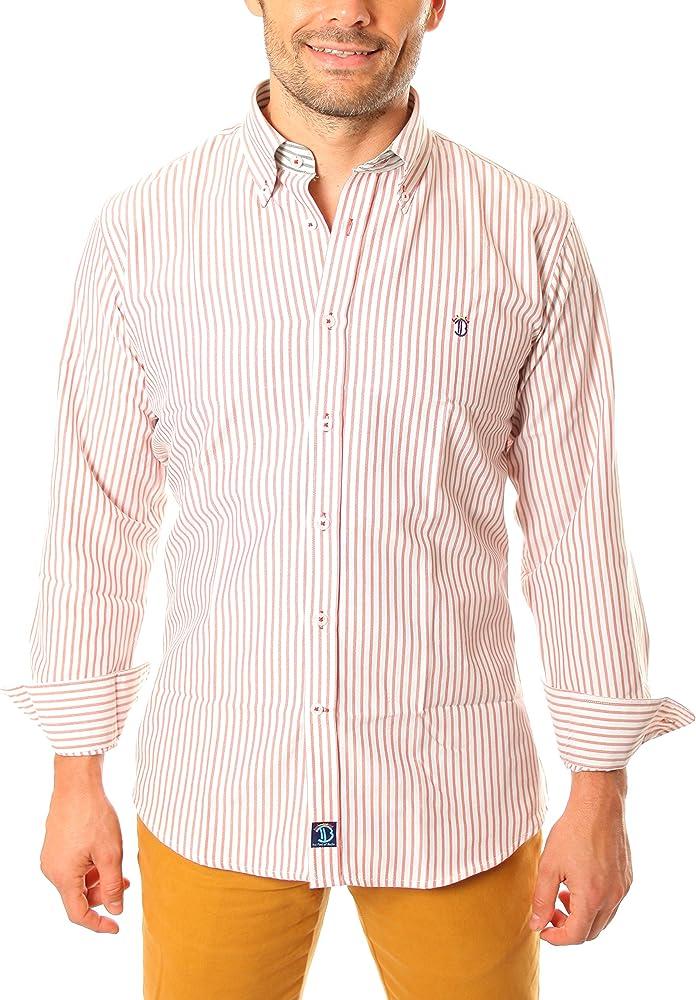 TIME OF BOCHA Camisa Hombre Lino Blanco/Naranja L (FR 4): Amazon.es: Ropa y accesorios