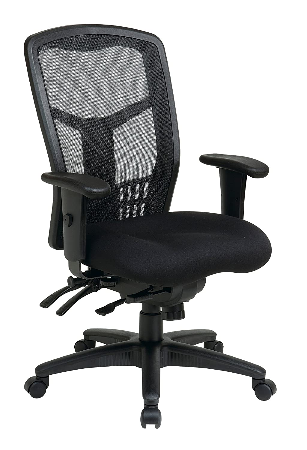 Office Star High Back ProGrid Back FreeFlex Seat with Adjustable Arms and Multi-Function and Seat Slider - Black