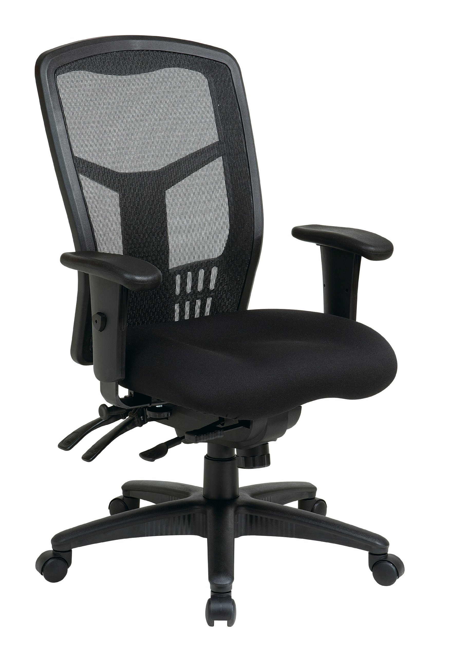 Office Star High Back ProGrid Back FreeFlex Seat with Adjustable Arms and Multi-Function and Seat Slider, Black Managers Chair by Office Star