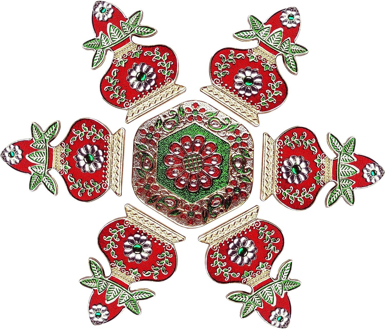 Diwali Metal Meenakari Rangoli Floor Decorations Kalash Design Red Color Rangoli with Studded Stones and Sequins, Traditional Festive Home Décor