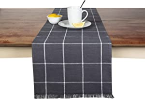 Sticky Toffee Yarn Dyed Farmhouse Plaid Table Runner, 14 in x 72 in, Gray