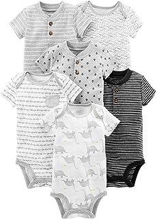 f8dc84083647 Amazon.com: Hudson Baby Short Sleeve Bodysuits, 3 Pack: Clothing
