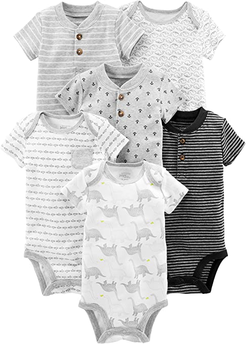 3-6 Months Navy//Red confezione da 6 Body a maniche corte Simple Joys by Carters Baby