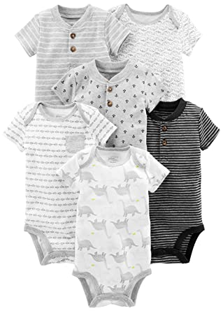 01f15598d Simple Joys by Carter's Baby Boys' 6-Pack Short-Sleeve Bodysuit, Black