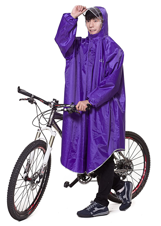 Liveinu Adult Bicycle Bike Rain Coat Extended Hooded Rain Poncho with Snaps LVNU-QIAGM-QA-6703-4-3XL