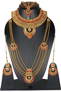 Fashion Jewelry Indian Bollywood Kundan Stone Yellow Necklace 4 Pcs Wedding Partywear Jewler To Reduce Body Weight And Prolong Life