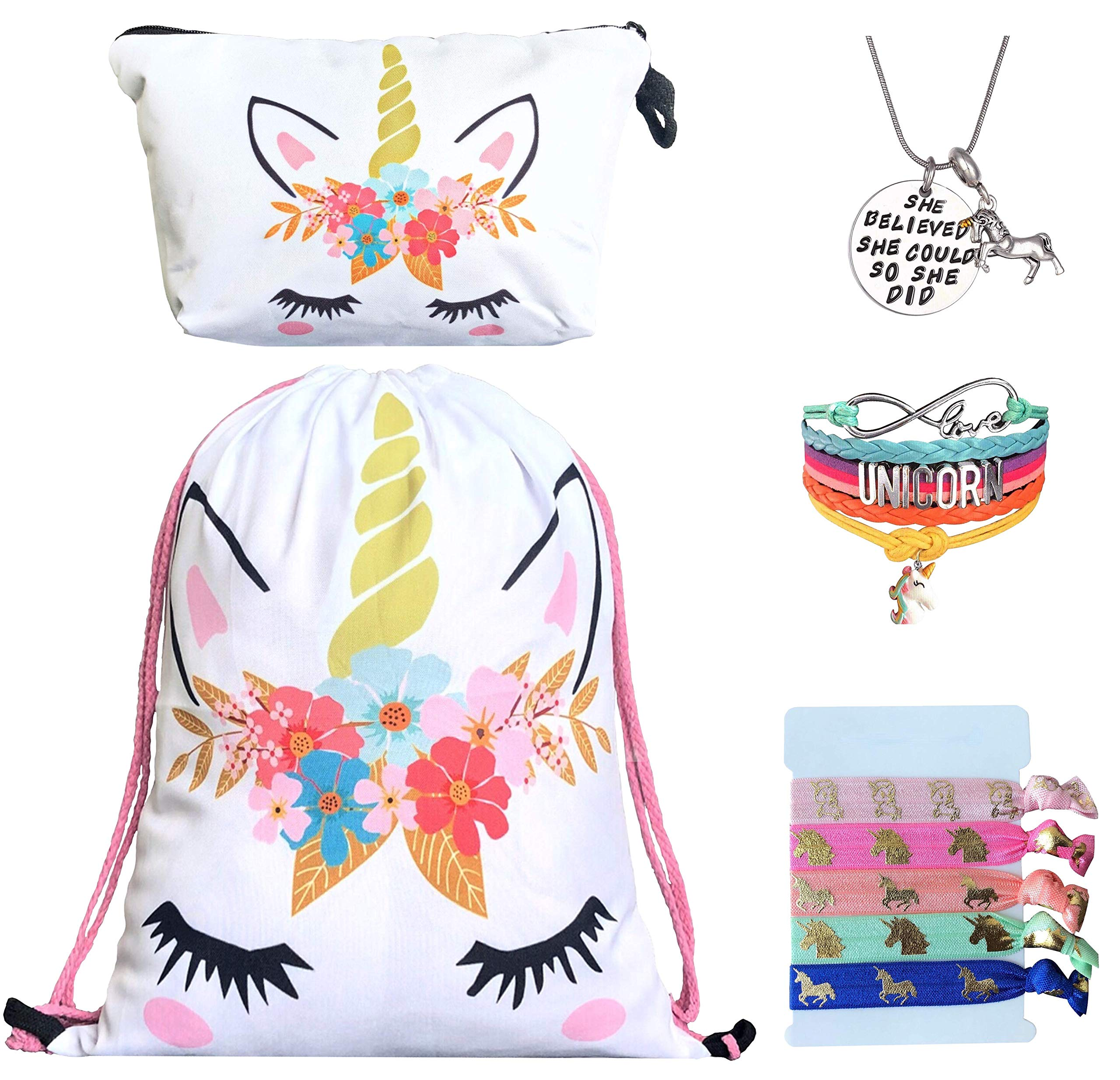 Unicorn Gifts for Girls - Unicorn Drawstring Backpack/Makeup Bag/Bracelet/Inspirational Necklace/Hair Ties (White Flower) by Doctor Unicorn