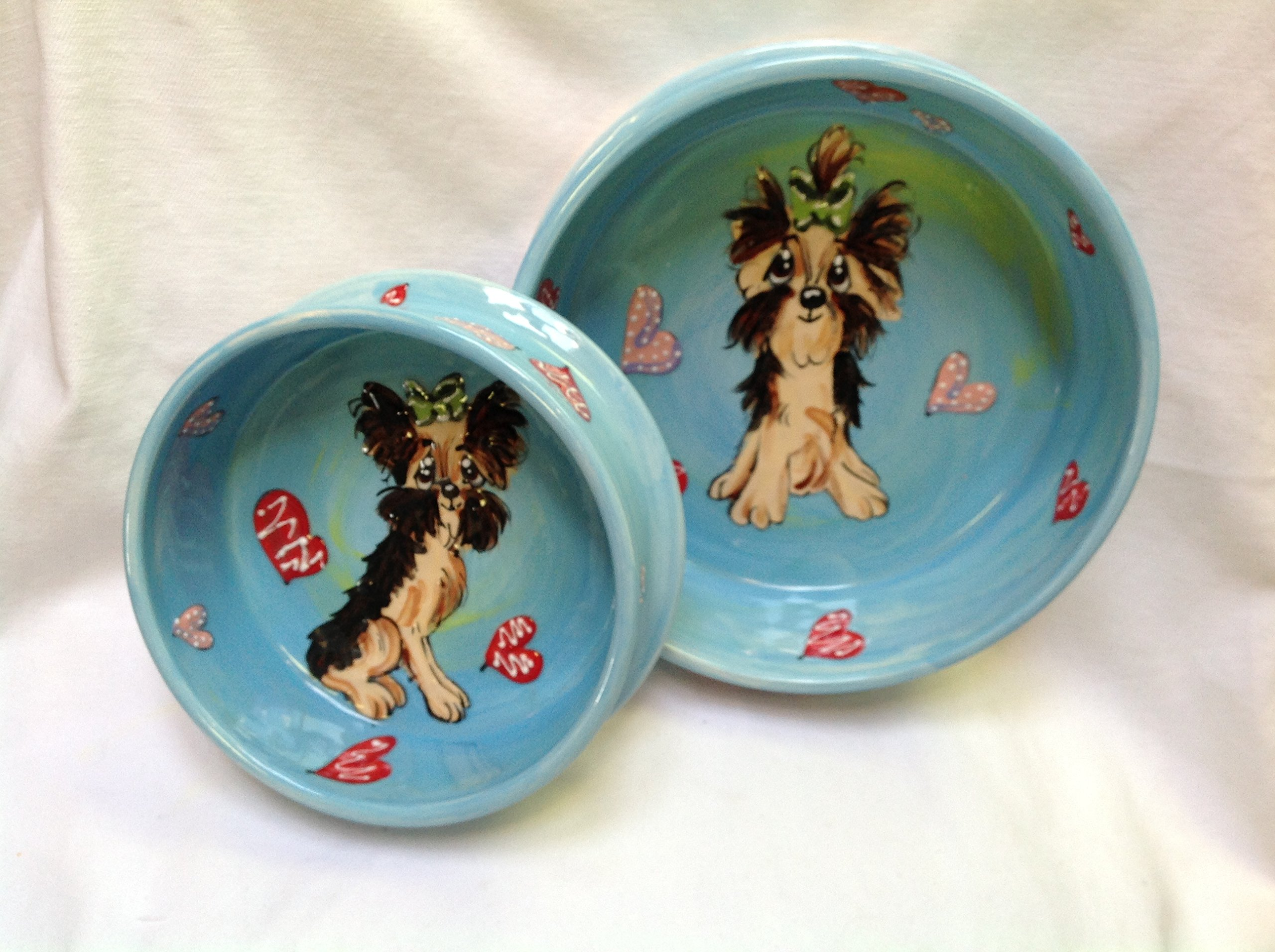Yorkshire Terrier 8''/6'' Pet Bowls for Food/Water. Personalized at no Charge. Signed by Artist, Debby Carman.