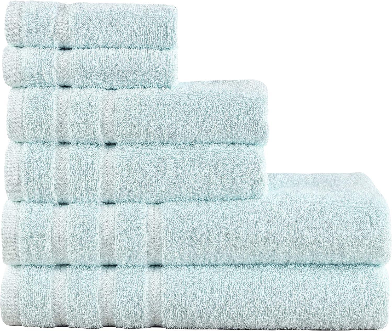 Comfort Realm Soft 6 Piece Towel Set, 600 GSM 100 Percent Cotton 2 Bath Towels 2 Hand Towels 2 Face Towel (6 Piece Towel Set, Mint)