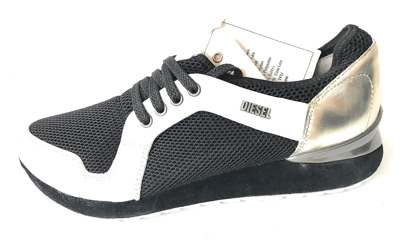 DIESEL Tazy Low Damen Turnschuhe Silber Weiß Schwarz Größe 39 Leder Textil Netz