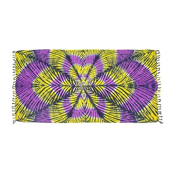 MANUMAR Sarong | Toalla de playa Pareo | Tela ligera amarillo e púrpura en diseño batik