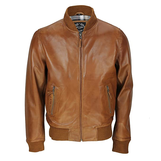 Real Suave Bomber Piel Marrón Xposed Negro Smart Vintage Casual tUOnq