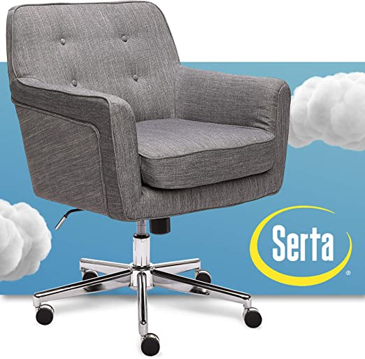 Amazon Com Serta Ashland Ergonomic Home Office Chair With Memory Foam Cushioning Chrome Finished Stainless Steel Base 360 Degree Mobility Gray 47140 Furniture Decor