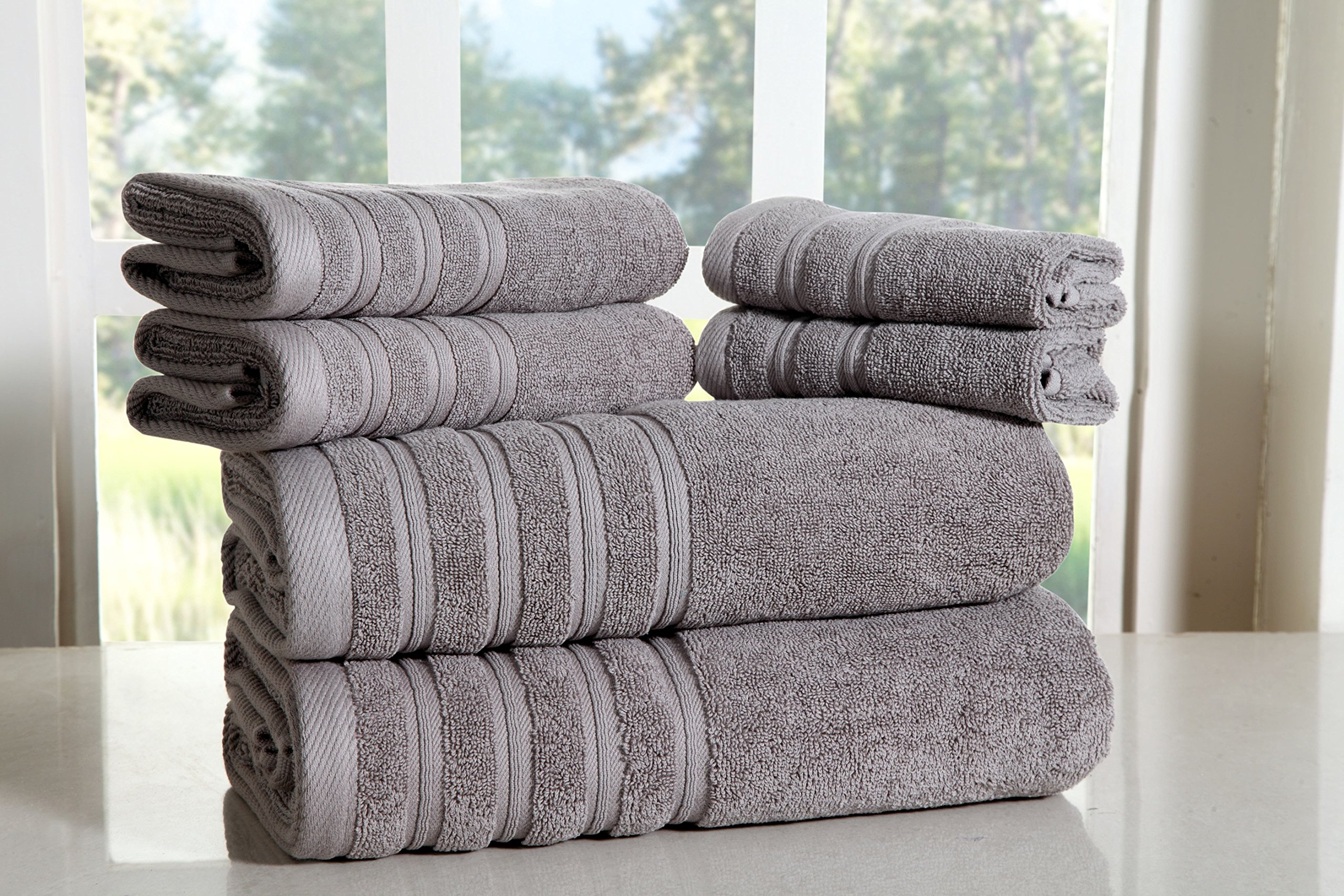 Bed Bath Fashions Fade-Resistant 100% Cotton 6-Piece Towel Set, Hotel Quality Bath Hand Wash Towels, Luxury Super Soft and Highly Absorbent Bathroom Towels (Silver)