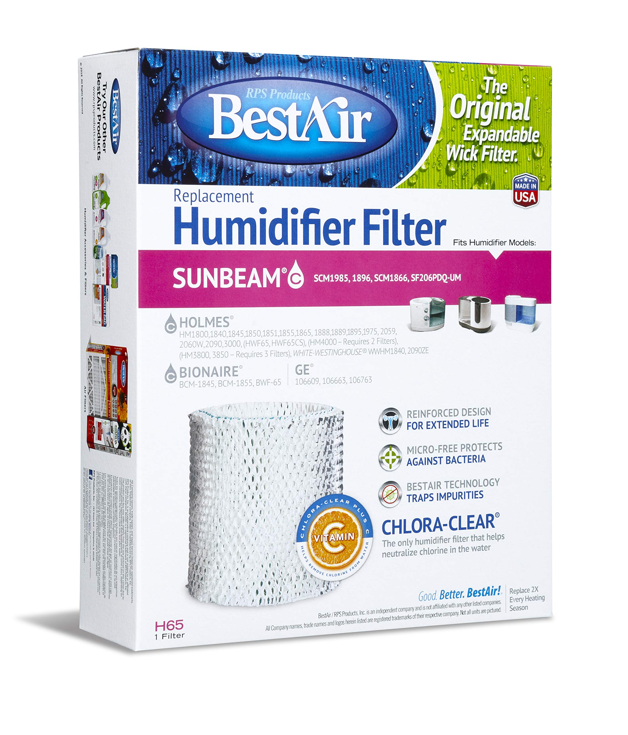 BestAir H65-PDQ-4 Extended Life Humidifier Replacement Paper Wick Humidifier Filter, For Holmes, Sunbeam, White-Westinghouse, GE & Bionaire Models, 8.2'' x 2.7'' x 10'', 4 Pack by BestAir
